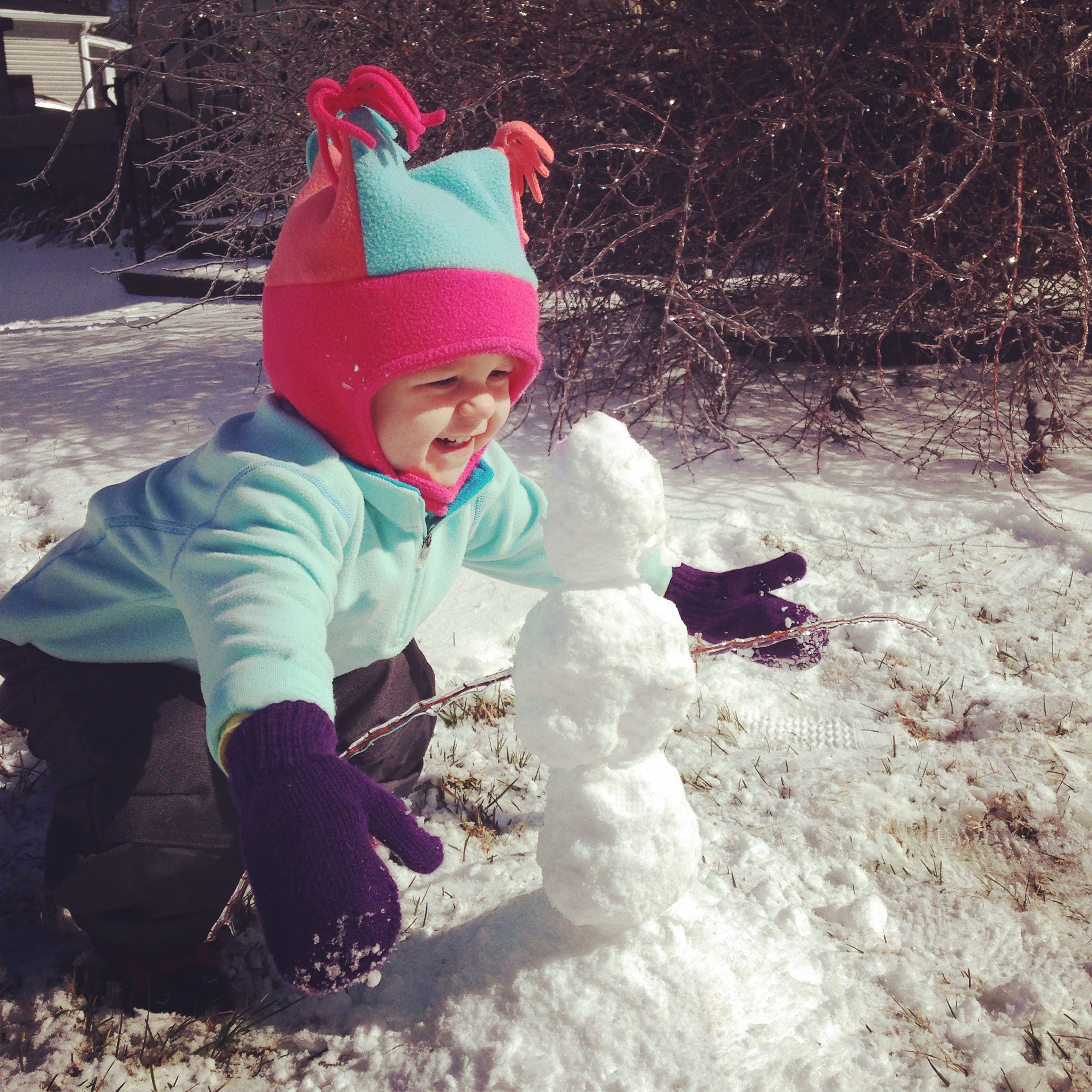 Brooks's first snowman